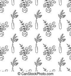 scandinave, noël, noël, minimaliste, papier peint, hiver, bouquet, fond, griffonnage, monoline, seamless, vecteur, enfants, modèle, bottles., plante, vacances, textile