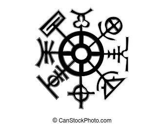 scandinave, rhumb, huit, francais, représente, roue, signe, ...