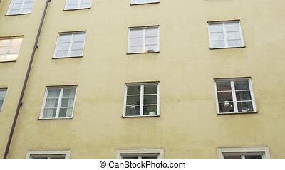 scandinavia., buildings, старый, путешествие, узкий, houses, concept., современное, steadicam, shot:, facades, европейская, streets, city.
