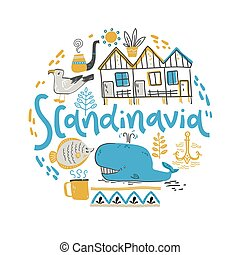 Scandinavia. Hand lettering with design elements in the round. Vector illustration