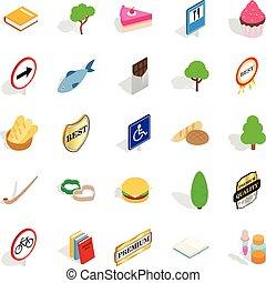 Scandinavia icons set, isometric style - Scandinavia icons...
