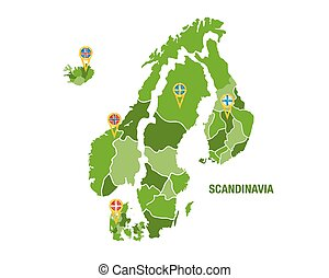Scandinavia map with flags - Vector illustration of a green...