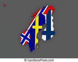 Scandinavia. Sweden, Norway and Finland. map.
