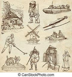 Scandinavia travel - An hand drawn pack - Travel series:...