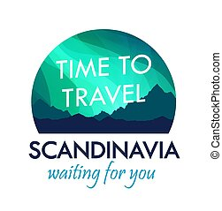 Scandinavia Travel Badge isolated on white, Label for Travel Agency organizing Tours to Scandinavia
