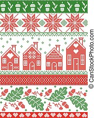 Scandinavian and Norwegian Christmas folk inspired festive autumn and winter seamless pattern in cross stitch with acorn, oak leaf, gingerbread house, snow snowflakes ,ornaments in red, white, green