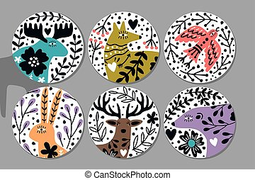 Scandinavian animals stickers. Hand drawn circular ornate image with bear and deer, rabbit and fox, vector illustration of cute nordic creatures