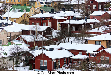Scandinavian Architecture - Aerial close-up of snowy old...