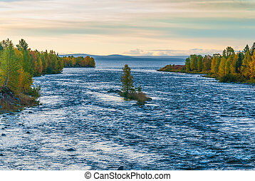 Scandinavian autumn landscape with river