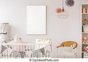 Scandinavian baby room with crib