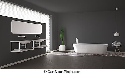 Contemporary gray bathroom with minimalist bathtub and black ... on black and gray stairs, black and gray dinnerware, black and gray garage, black and gray boat, black and gray cabinets, black and gray nursery, black and gray doors, black and gray beds, black and gray home, black and gray salon, dark grey bathroom, black and gray desk, black and gray table, black granite bathroom, black and gray food, black and gray deck, black and gray luxury bedding, black and gray dorm, black and grey powder room, black and gray shutters,