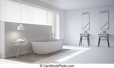 Scandinavian bathroom, white minimalistic interior design, abstract sketch