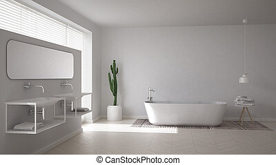Scandinavian bathroom, white minimalistic interior design