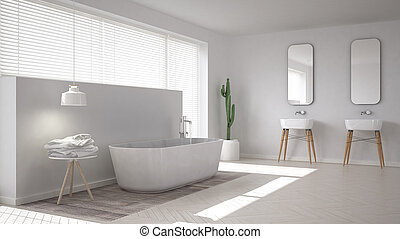 Scandinavian bathroom, white minimalistic interior design