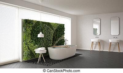 Scandinavian bathroom with vertical garden, white minimalistic interior design
