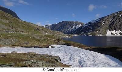 Scandinavian beautiful landscape, snow and lake in Norway