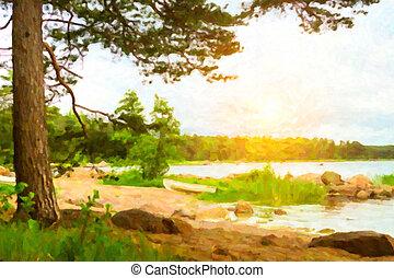 Scandinavian camping at lake. Stylized photo - Summer...
