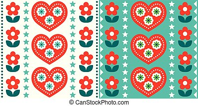 Scandinavian Christmas folk art vector seamless pattern, cute festive Nordic design in red and turquoise green