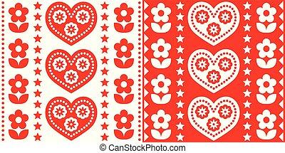 Scandinavian Christmas folk art vector seamless pattern, cute festive Nordic design in red and white