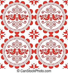 Scandinavian Christmas seamless vector pattern with birds, snowflakes, hearts and Christmas trees - Nordic folk art style