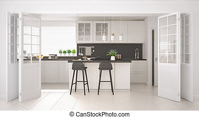 Scandinavian classic kitchen with wooden and white details,...
