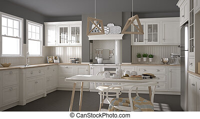 Scandinavian classic white kitchen with wooden details,...