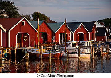 North european harbour with huts
