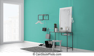 Scandinavian entrance lobby hall with table, stool, carpet and mirror, minimalist white and turquoise interior design