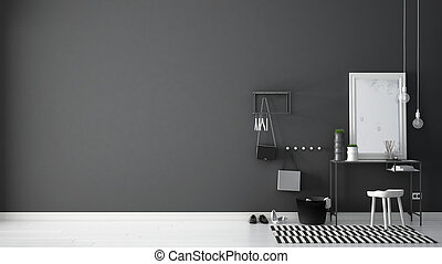 Scandinavian entrance lobby hall with table, stool, carpet and mirror, minimalist white and gray interior design