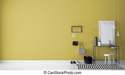 Scandinavian entrance lobby hall with table, stool, carpet and mirror, minimalist white and yellow interior design