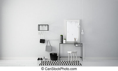 Scandinavian entrance lobby hall with table, stool, carpet and mirror, minimalist white interior design
