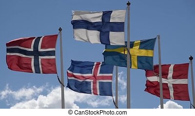 Scandinavian Flags - The flags of the countries of...