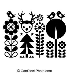 Scandinavian folk art pattern - Finnish inspired, Nordic style with flowers, deer, and birds