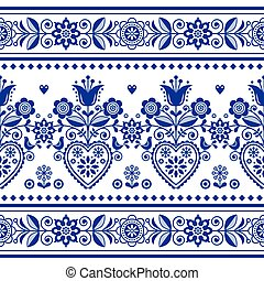 Scandinavian folk art seamless vector pattern with birds and flowers, Nordic repetitive decoration with flowers