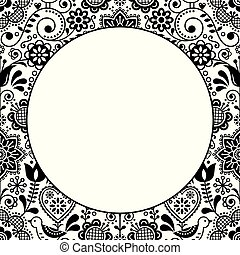 Scandinavian folk heart design greeting card or birthday or wedding invitation, floral vector pattern in black and white