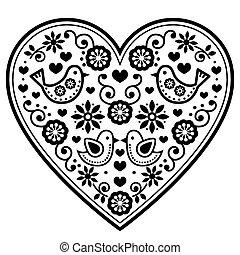 Scandinavian folk heart vector black pattern with flowers and birds - Valentine's Day, wedding, birthday greeting card