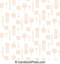 Scandinavian folk pale pink floral art pattern seamless vector.