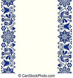 Scandinavian greeting card design, folk art retro vector design, ornament with birds and flowers in navy blue - vertical stripes or border