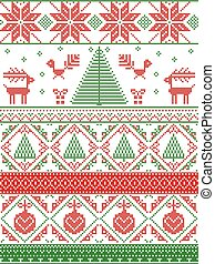 Scandinavian inspired by Norwegian Christmas and festive winter seamless pattern in cross stitch with Xmas trees, snowflakes, Reindeer, Robin Bird, heart, Christmas bauble in red, green