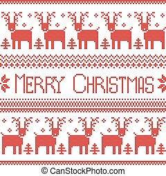 Scandinavian inspired Merry Christmas nordic pattern with 2 rows of reindeer patten, snowflakes, trees, decorative ornaments in red cross stitch