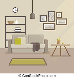 Scandinavian interior design flat illustration. Modern minimal room interior. Sofa with pillows, set of pictures on the wall, bed table with a flowerpot