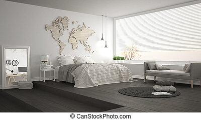 Scandinavian minimalist bedroom, minimalistic modern...
