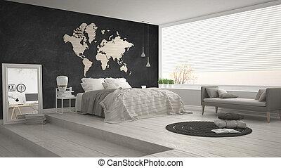 Scandinavian minimalist bedroom, minimalistic modern interior design