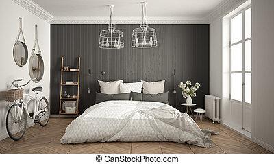 Scandinavian Apartment With Gray Bedroom Decor Room Divider - Gray-bedroom-minimalist