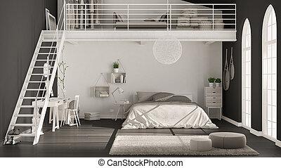 Scandinavian Minimalist Loft Bedroom With Home Office Dark Black Walls Classic Interior Design