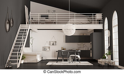 Scandinavian minimalist loft, one-room apartment with gray kitchen, living and bedroom, classic interior design