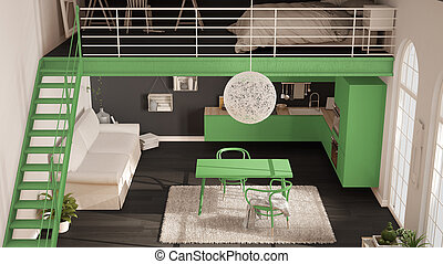 Scandinavian minimalist loft, one-room apartment with green kitchen, living and bedroom, top view, classic interior design