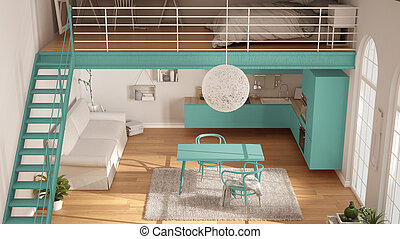 Scandinavian minimalist loft, one-room apartment with turquoise kitchen, living and bedroom, top view, classic interior design