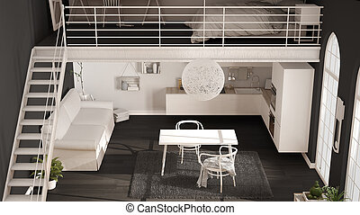 Scandinavian minimalist loft, one-room apartment with white kitchen, living and bedroom, top view, classic interior design
