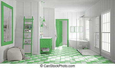 Scandinavian minimalist white and green bathroom, shower, bathtub and decors, classic vintage interior design